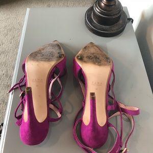 88067a60c97 ZARA Magenta lace up heels
